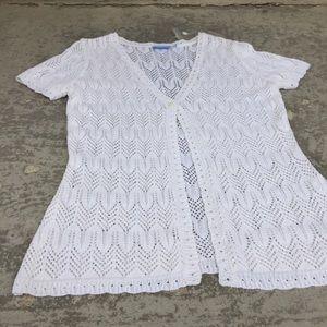 2/$16 Denver Hayes NWOT Short Sleeve Lacy Cardigan